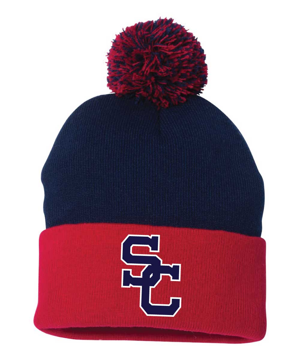 Spencer-Columbus Football Pom Pom Knit Beanie